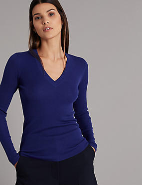 Pure Merino Wool Textured Jumper , PURPLE, catlanding