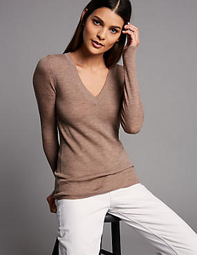 Pure Merino Wool Ribbed Jumper , GREY, catlanding
