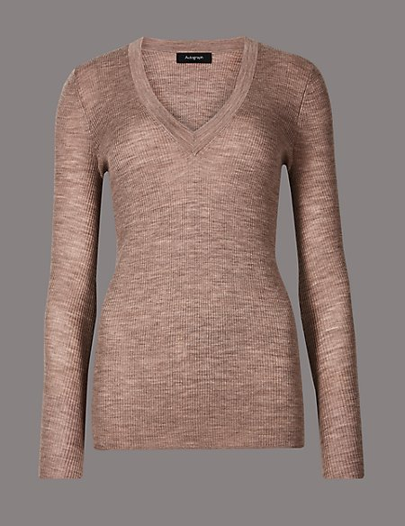 Pure Merino Wool Ribbed Jumper