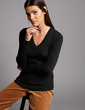 Pure Merino Wool Ribbed Jumper , BLACK, catlanding