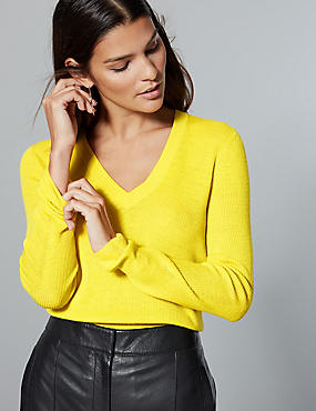 Pure Merino Wool Ribbed Jumper , CITRUS, catlanding