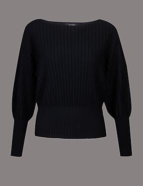 Textured Round Neck Ribbed Sleeve Jumper, BLACK, catlanding