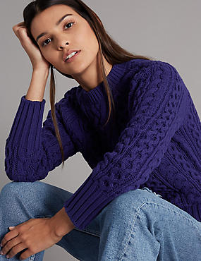 Cotton Rich Textured Round Neck Jumper