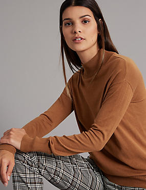 Silk Rich Textured Turtle Neck Jumper