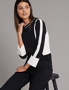 Colour Block Round Neck 3/4 Sleeve Jumper