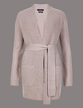 Pure Cashmere Textured Longline Cardigan , MID GREY, catlanding
