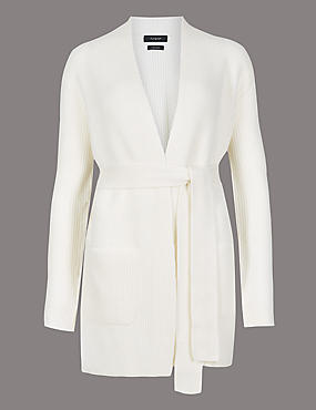 Pure Cashmere Textured Longline Cardigan , CREAM, catlanding