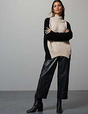 Wool Blend Colour Block Turtle Neck Jumper, BLACK MIX, catlanding