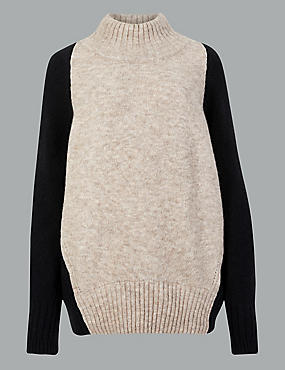 Wool Blend Colour Block Turtle Neck Jumper