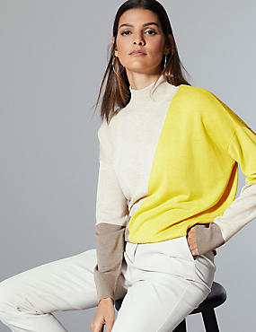 Wool Rich Colour Block Turtle Neck Jumper  , CITRUS, catlanding
