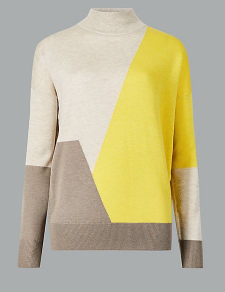 Wool Rich Colour Block Turtle Neck Jumper