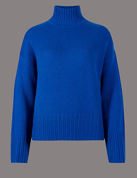 Pure Cashmere Textured Funnel Neck Jumper