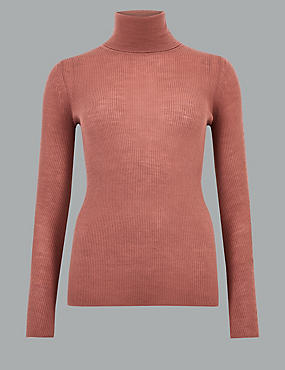 Pure Merino Textured Roll Neck Jumper , DUSKY ROSE, catlanding
