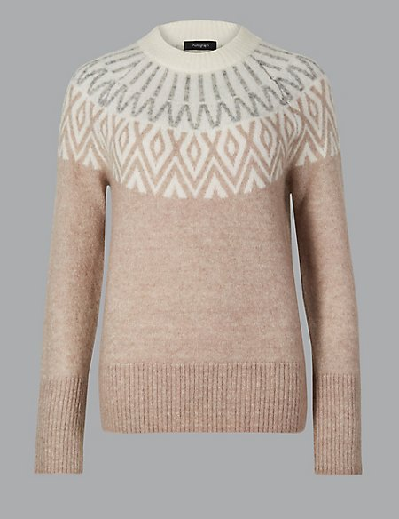 Wool Blend Fairisle Print Turtle Neck Jumper