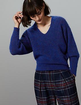 Wool Blend Textured V-Neck Jumper