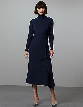 Wool Blend Textured Funnel Neck Jumper Dress