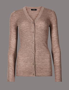 Pure Merino Wool Cardigan, GREY, catlanding