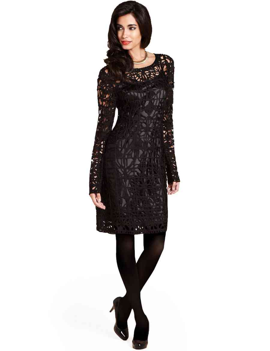 6eb172a466a9b Round Neck Long Sleeve Cornelli Knitted Dress