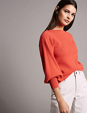 Wool Blend Textured Bell Sleeve Jumper, FLAME, catlanding