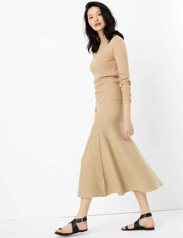 5abd64278 Knitted Fit & Flare Skirt