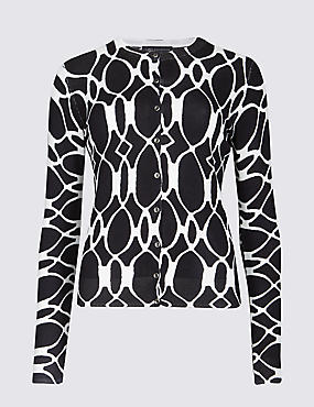 Geometric Print Round Neck Cardigan, NAVY MIX, catlanding