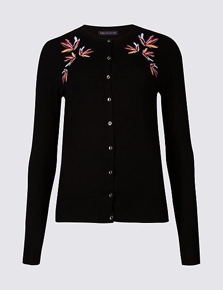 Embroidered Round Neck Long Sleeve Cardigan