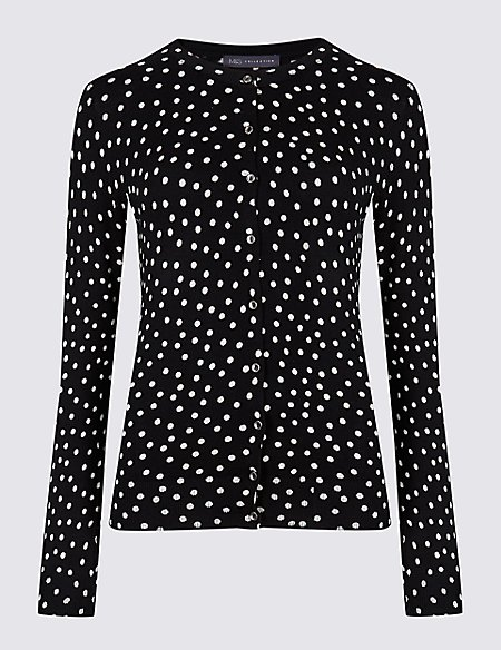 Spotted Round Neck Cardigan