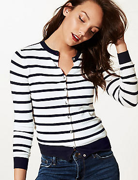 Striped Round Neck Cardigan   , NAVY MIX, catlanding