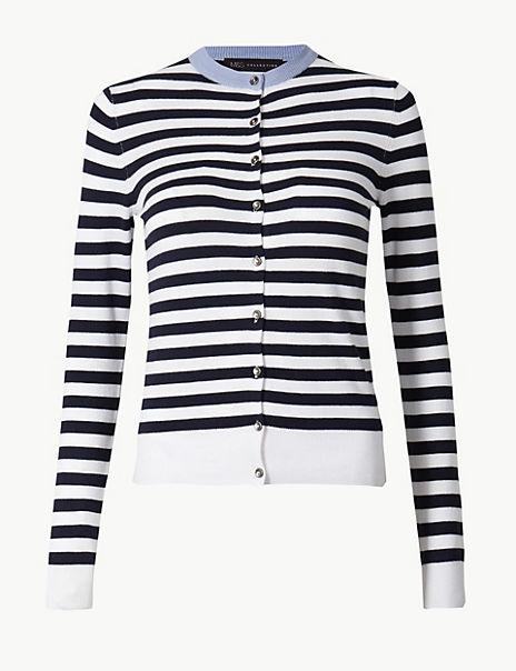 Striped Round Neck Cardigan