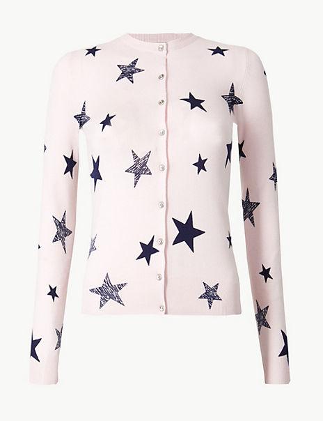 Star Print Cardigan