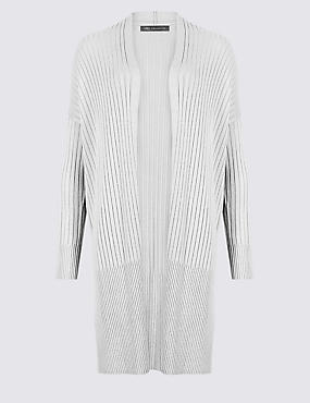 Open Front Ribbed Longline Cardigan