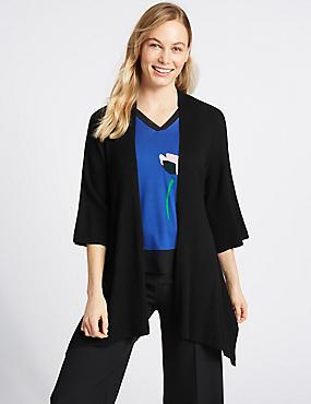 Ribbed Asymmetric ¾ Sleeve Cardigan , BLACK, catlanding