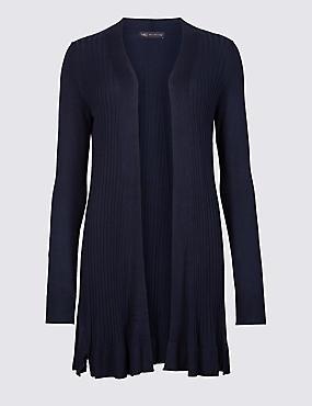 Textured Long Sleeve Longline Cardigan