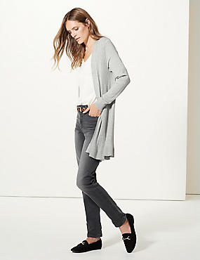 Textured Long Sleeve Longline Cardigan , GREY MARL, catlanding