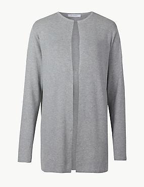 Textured Open Front Longline Cardigan , GREY MARL, catlanding