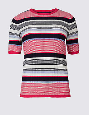 Striped Round Neck Short Sleeve Jumper