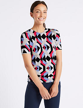 Geometric Print Short Sleeve Jumper , NAVY MIX, catlanding