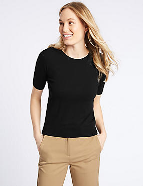 Round Neck Short Sleeve Jumper , BLACK, catlanding