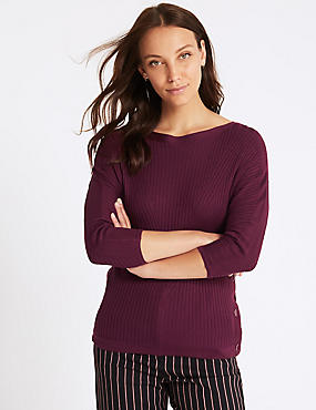 Ribbed Slash Neck 3/4 Sleeve Jumper, PLUM, catlanding