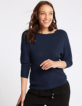 Ribbed Slash Neck 3/4 Sleeve Jumper, NAVY, catlanding