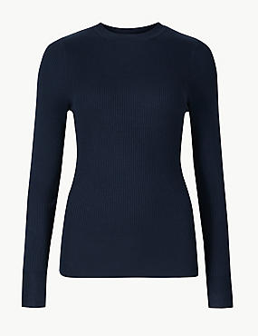 Textured Round Neck Jumper, NAVY, catlanding
