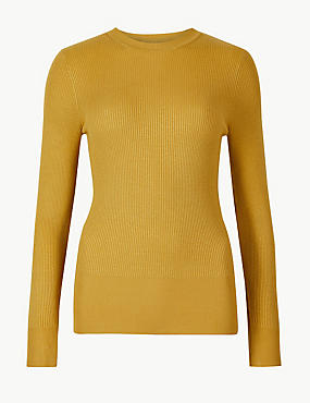 Textured Round Neck Jumper, HONEY, catlanding