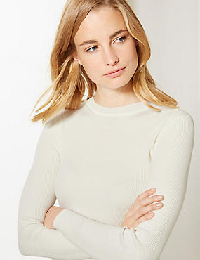 Textured Round Neck Jumper, CREAM, catlanding