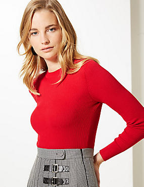 Textured Round Neck Jumper, CHILLI, catlanding