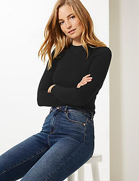Textured Round Neck Jumper, BLACK, catlanding
