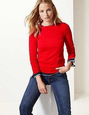 Fine Knit Round Neck Long Sleeve Jumper