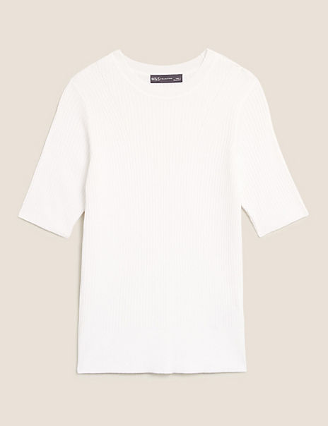 Ribbed Crew Neck Fitted Short Sleeve Jumper