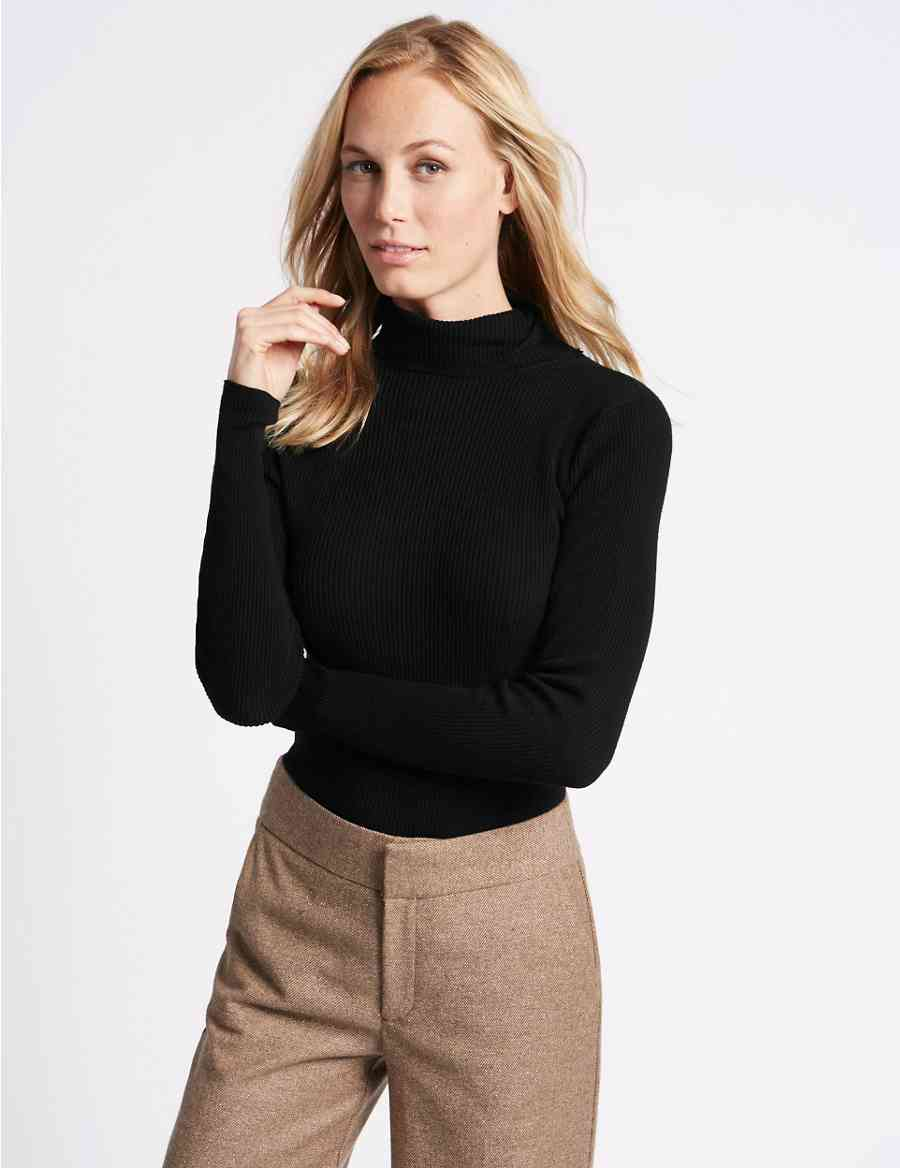 Ribbed Polo Neck Jumper  c8805e703