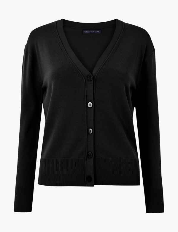 3356128005 V-Neck Button Detailed Cardigan. M S Collection