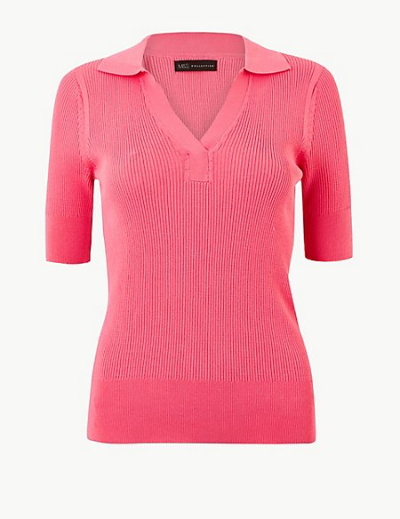 Ribbed Short Sleeve Knitted Top